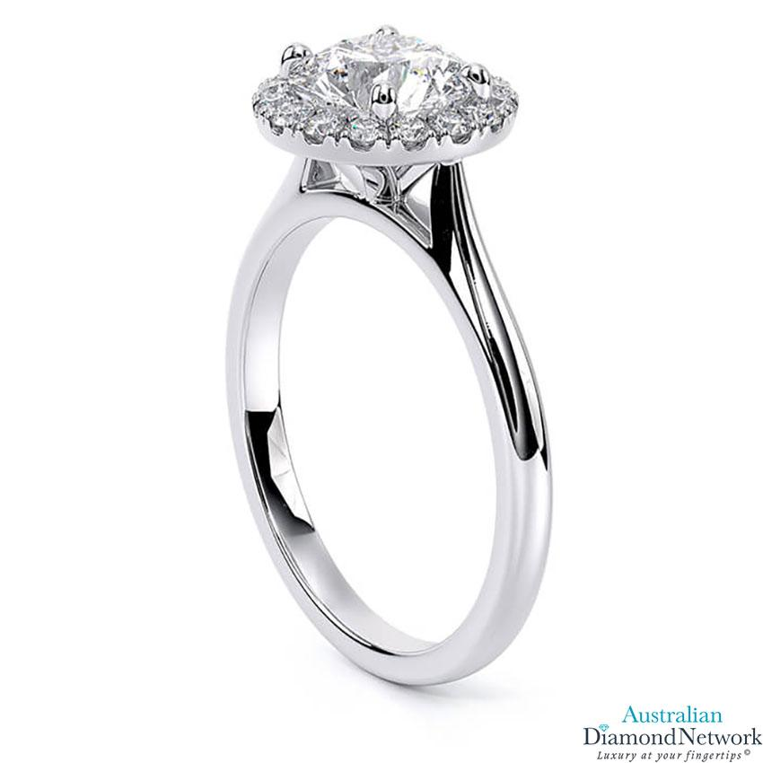 Tapered cathedral single halo diamond engagement ring in white gold – Australian Diamond Network