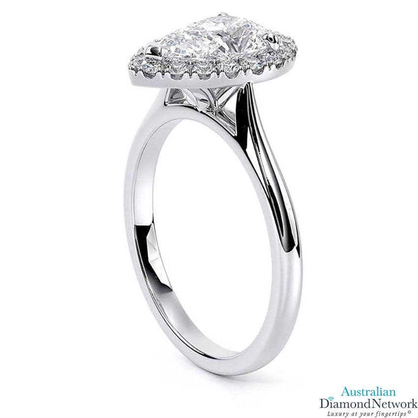 Tapered cathedral single halo pear shape diamond engagement ring in white gold – Australian Diamond Network