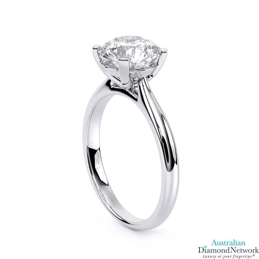 Round brilliant cut diamond cathedral engagement ring in white gold – Australian Diamond Network