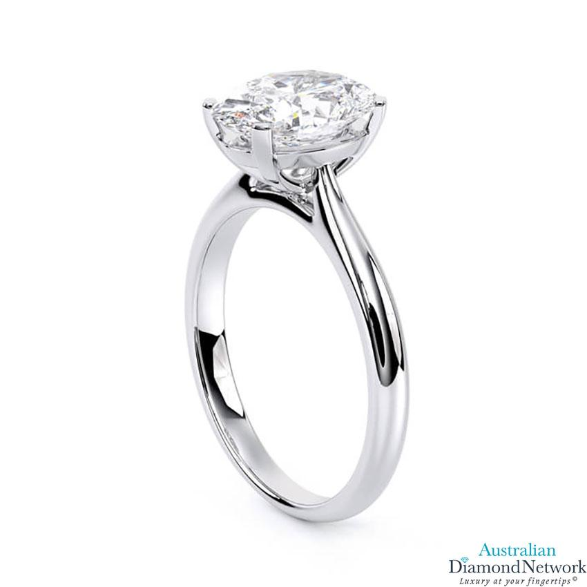 Oval cut diamond cathedral engagement ring in white gold – Australian Diamond Network