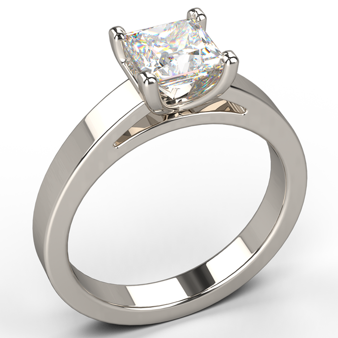 flat band princess cut solitaire diamond engagement ring