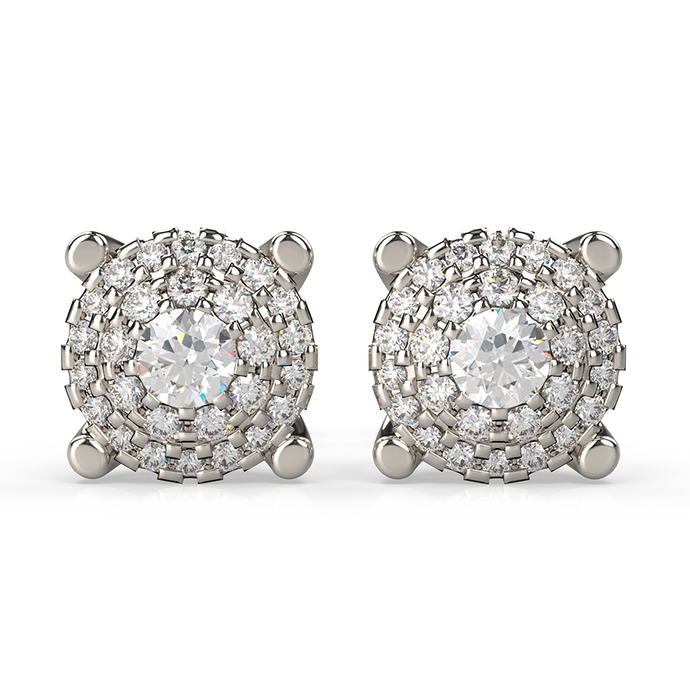 round diamond studs set in double halo cluster - Australian Diamond Network