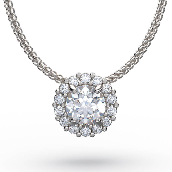 Sliding Diamond Solitaire Pendant Necklace With Halo Enhancer - Australian Diamond Network