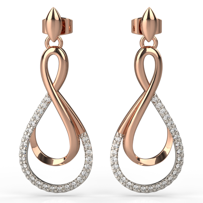 two-tone gold and diamond drop earrings - Australian Diamond Network