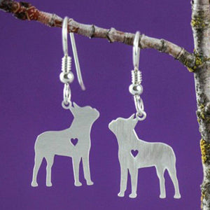 Boston Terrier Silver-Plated Earrings