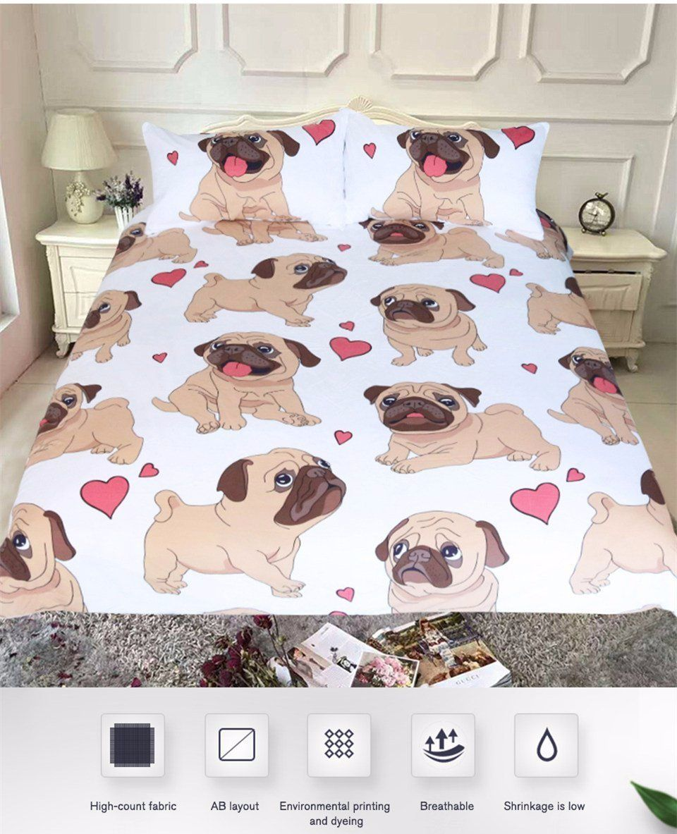Pug 3-Pieces Bedding Set Sweeheart