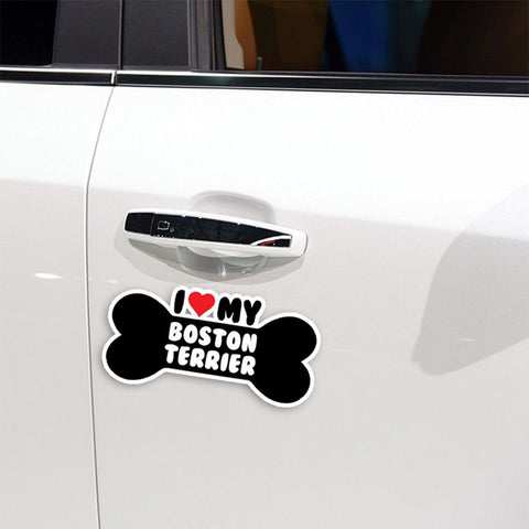 I Love My Boston Terrier Car Decal