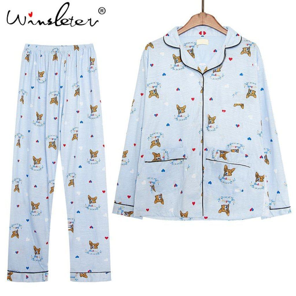Corgi Winter Pajamas Set