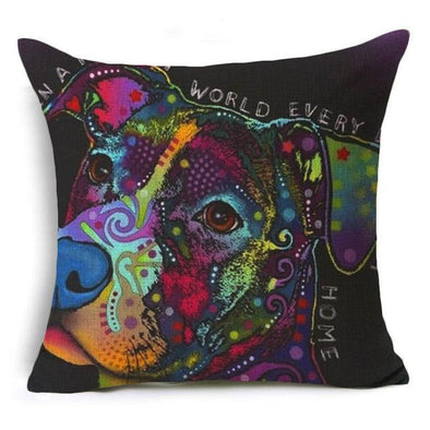 Decorative Pitbull Pillow Case