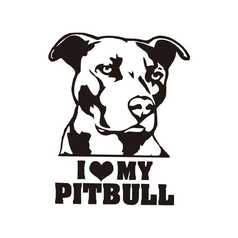 I Love My Pitbull Laptop Stickers
