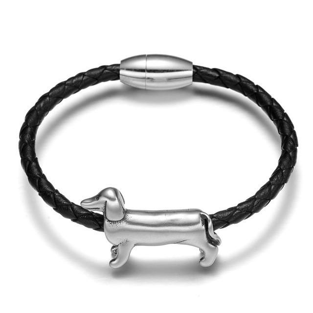 Braided Leather Dachshund Bracelet