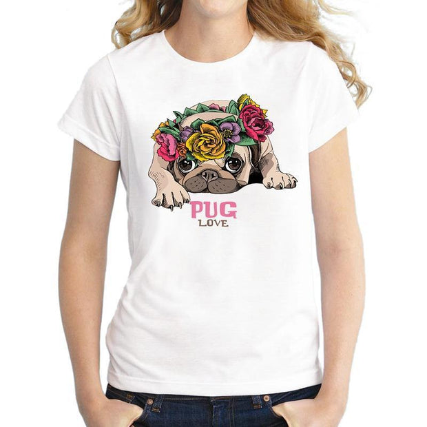 Lovely Flowery Pug T-shirt