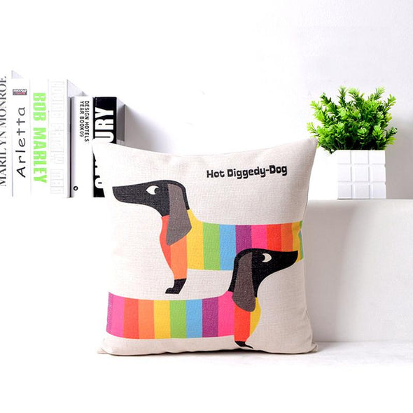 Rainbow Dachshund Cushion Cover