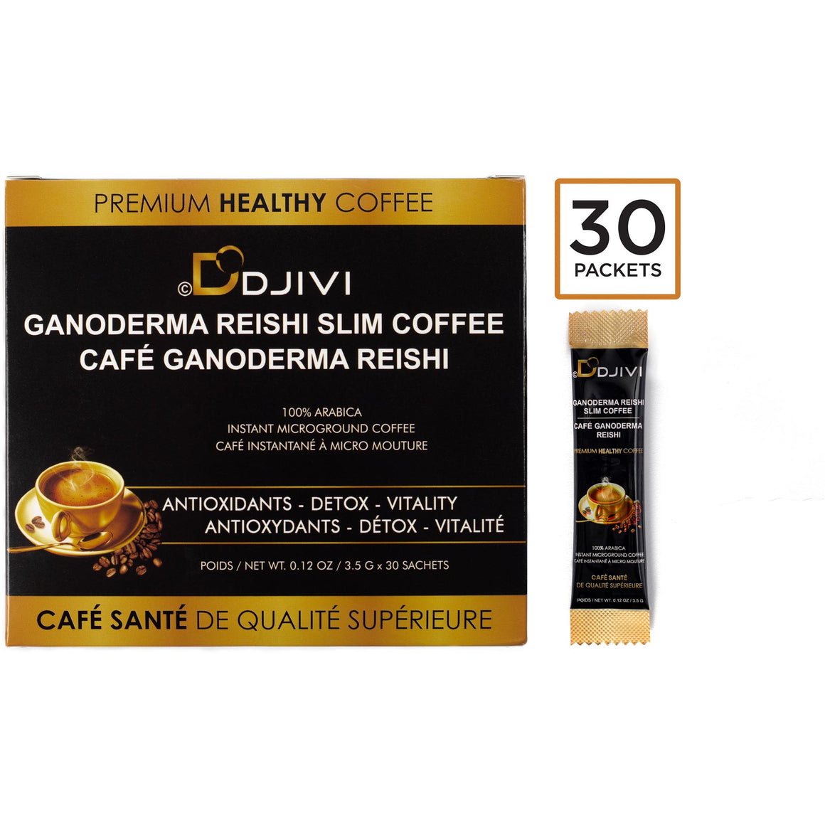 GANODERMA REISHI MUSHROOM COFFEE  (1 BOX OF 30 BAGS) - DODJIVI