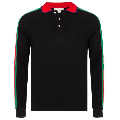GUCCI Polo Long Sleeves Shirt with GUCCI stripes - Men - Apparel - Shirts - Polos - Gucci | Gethuda Fashion