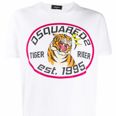 Dsquared2 Tiger Rider T-Shirt S74GD0677S22507100 - Men - Apparel - Shirts - T Shirts - Dsquared2 | Gethuda Fashion