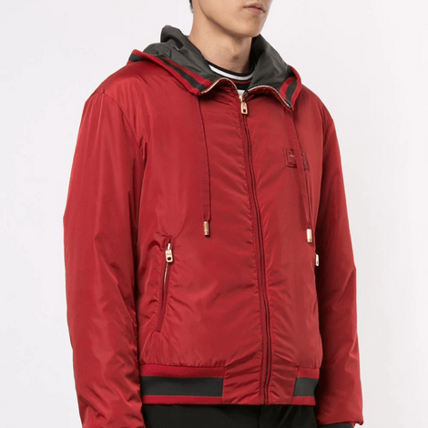 Dolce & Gabbana Men Jacket with hood and branded plate - Red