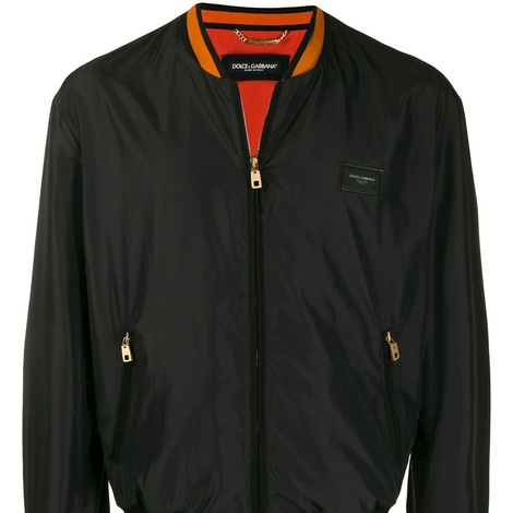 Dolce & Gabbana Men Nylon Jacket with branded plate - Black