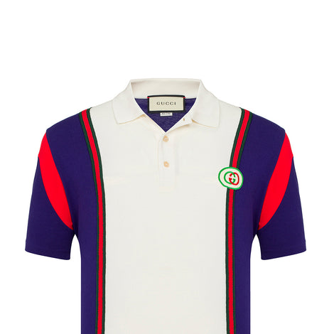 Gucci White Polo Shirt with Violet Red and Green Stripes - Men - Apparel - Shirts - Polos - Gucci | Gethuda Fashion