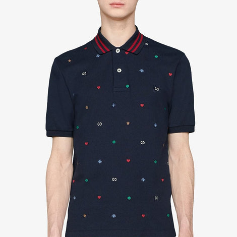 Gucci Dark Blue Polo Shirt with Multi-color Design - Men - Apparel - Shirts - Polos - Gucci | Gethuda Fashion