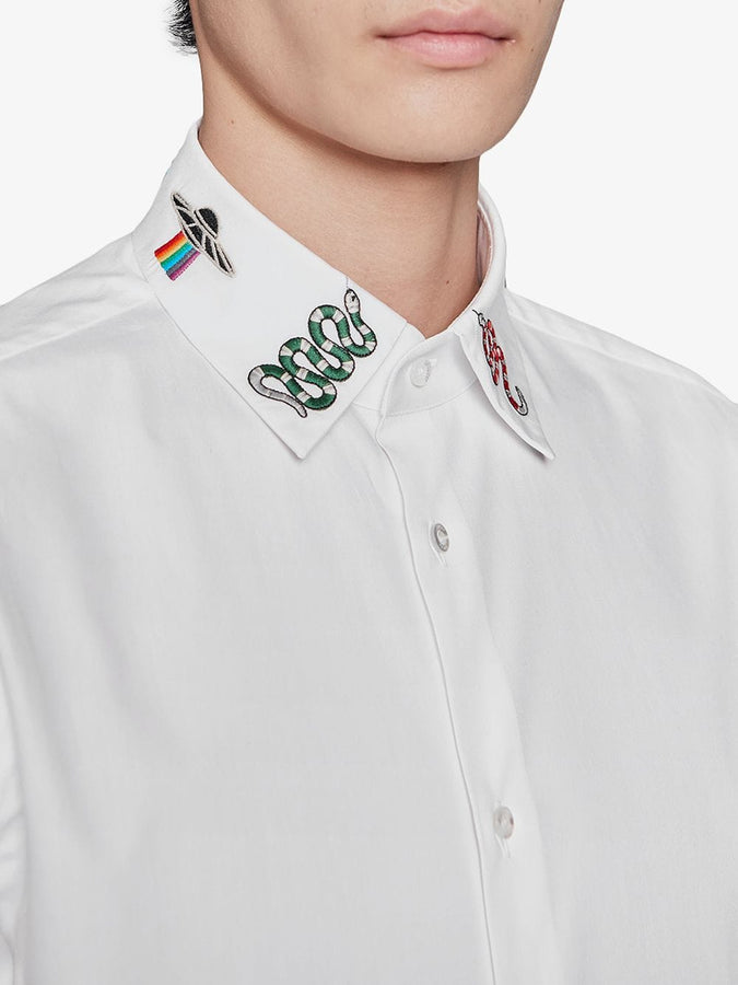 Gucci White Cotton Shirt with symbols on collar - Men - Apparel - Shirts - Dress Shirts - Gucci | Gethuda Fashion