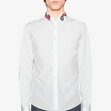 Gucci Around the Neck Snake design White Cotton Collared Full Sleeves Shirt - Men - Apparel - Shirts - Dress Shirts - Gucci | Gethuda Fashion