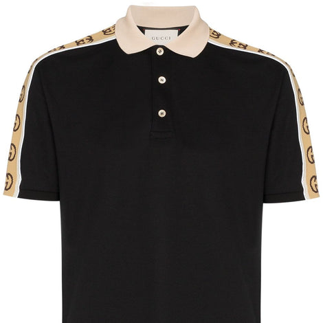 GUCCI Interlocking G Stripe Black Polo Shirt - 598949 XJB0Q 1082 - Men - Apparel - Shirts - Polos - Gucci | Gethuda Fashion