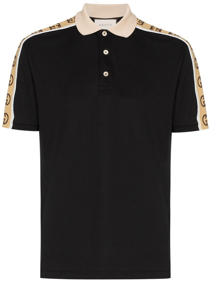 GUCCI Interlocking G Stripe Black Polo Shirt - 598949 XJB0Q 1082