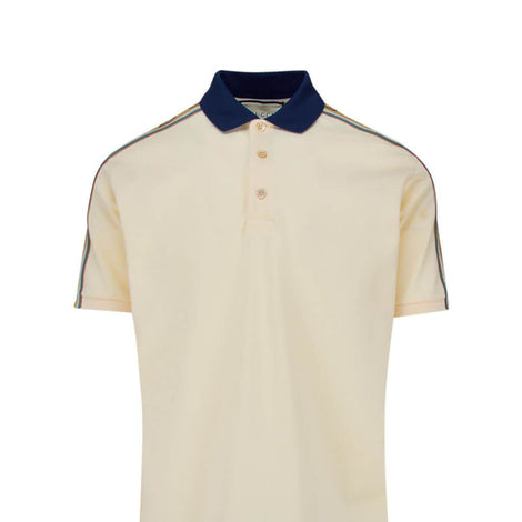 GUCCI Interlocking G Stripe off-white Polo Shirt - 598949 XJB0Q 9247 - Men - Apparel - Shirts - Polos - Gucci | Gethuda Fashion