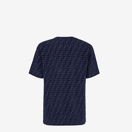 Fendi Blue chenille oversized T-Shirt with all-over FF motif