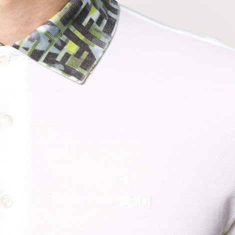 Fendi FF camouflage collar White Polo Shirt - Men - Apparel - Shirts - Polos - Fendi | Gethuda Fashion