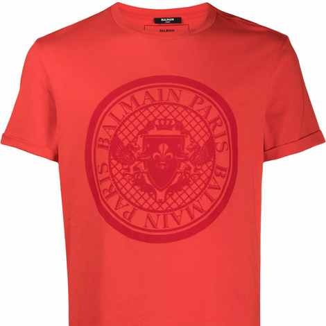 Balmain Red T-Shirt with medallion - Men - Apparel - Shirts - T Shirts - Balmain | Gethuda Fashion