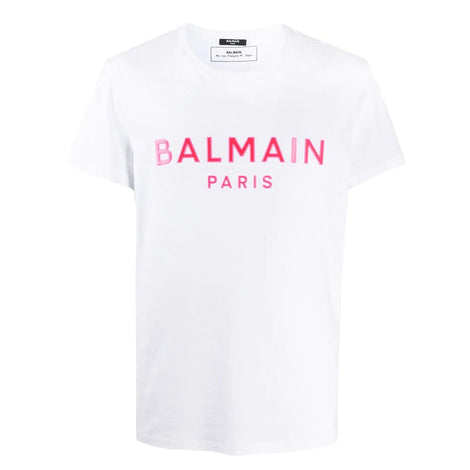 Balmain White T-Shirt with pink Balmain Paris logo