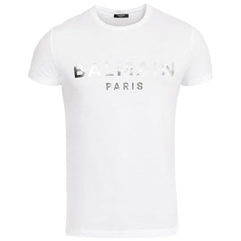 Balmain Paris T-Shirt with silver metallic logo