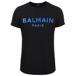 Balmain Paris Black T-Shirt with blue silicone logo