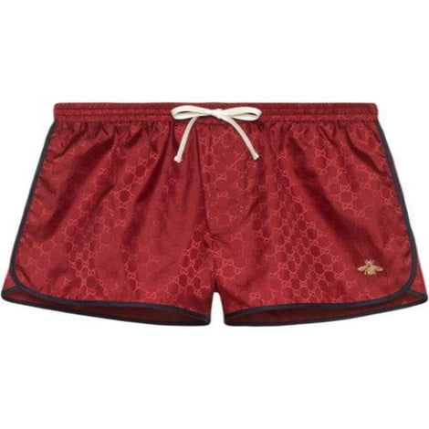 GUCCI GG Nylon Red swim short with Bee