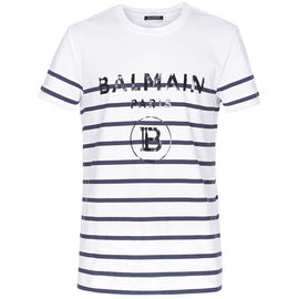Balmain Paris White T-shirt with Blue stripes