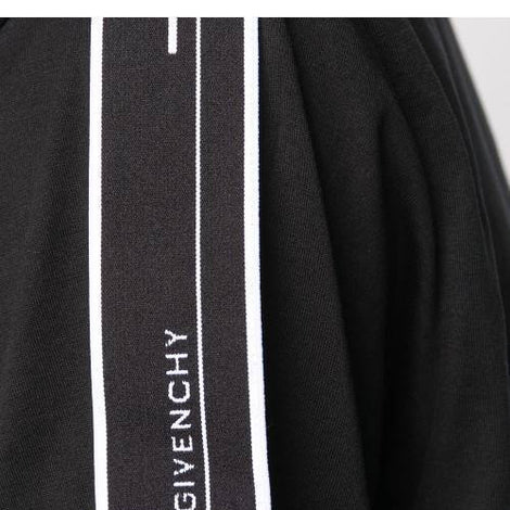 Givenchy Paris Black T-Shirt with Black Stripe Logo Over Shoulder