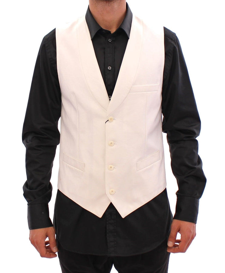 Dolce & Gabbana White Cotton Button Front Dress Formal Vest - Men - Apparel - Suits - Vest - Dolce & Gabbana | Gethuda Fashion