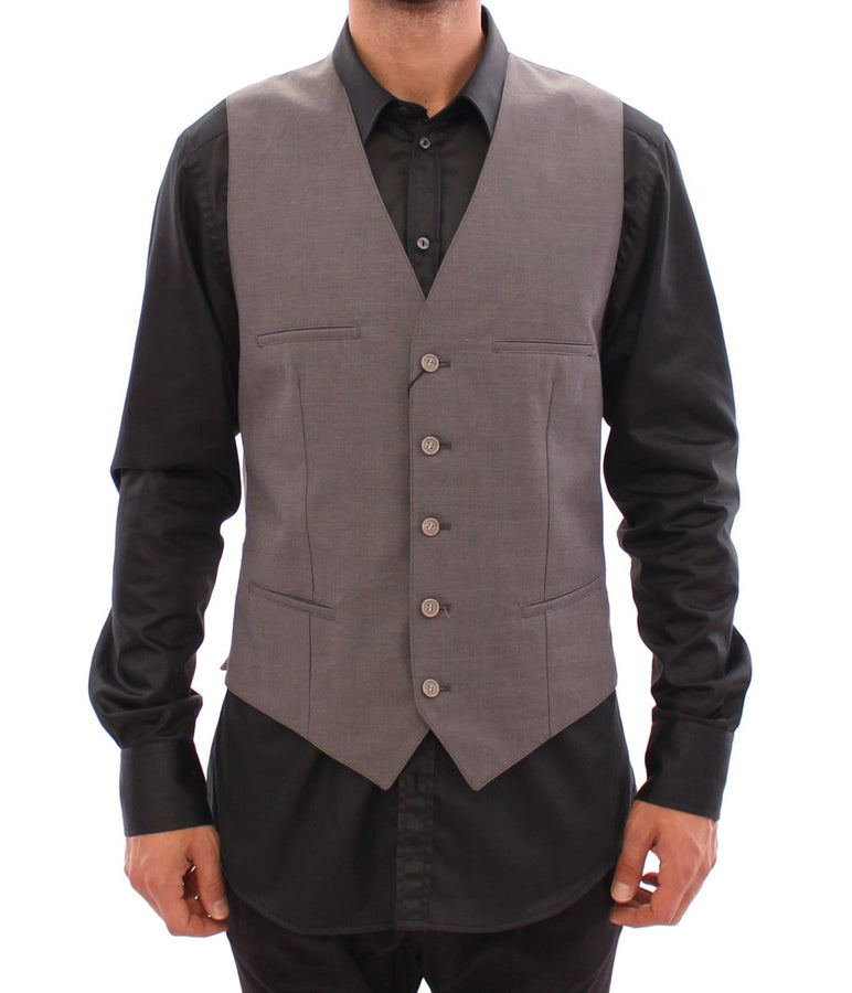 Dolce & Gabbana Gray Cotton Slim Fit Button Front Dress Vest - Men - Apparel - Suits - Vest - Dolce & Gabbana | Gethuda Fashion