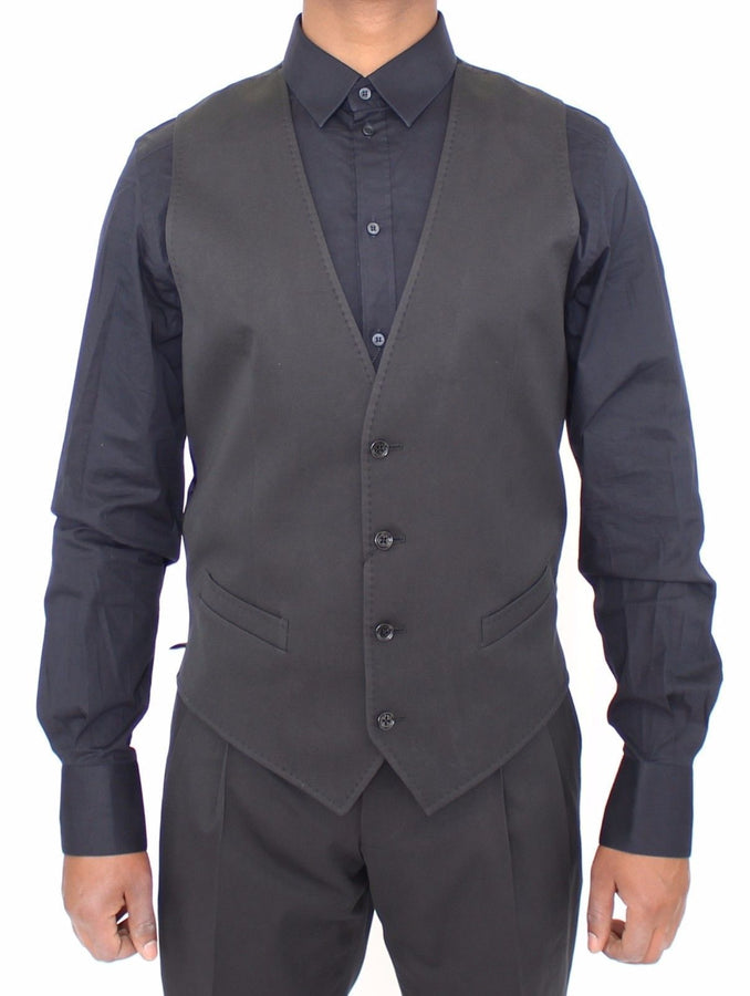 Dolce & Gabbana Black Cotton Blend Formal Dress Vest Gilet - Men - Apparel - Suits - Vest - Dolce & Gabbana | Gethuda Fashion