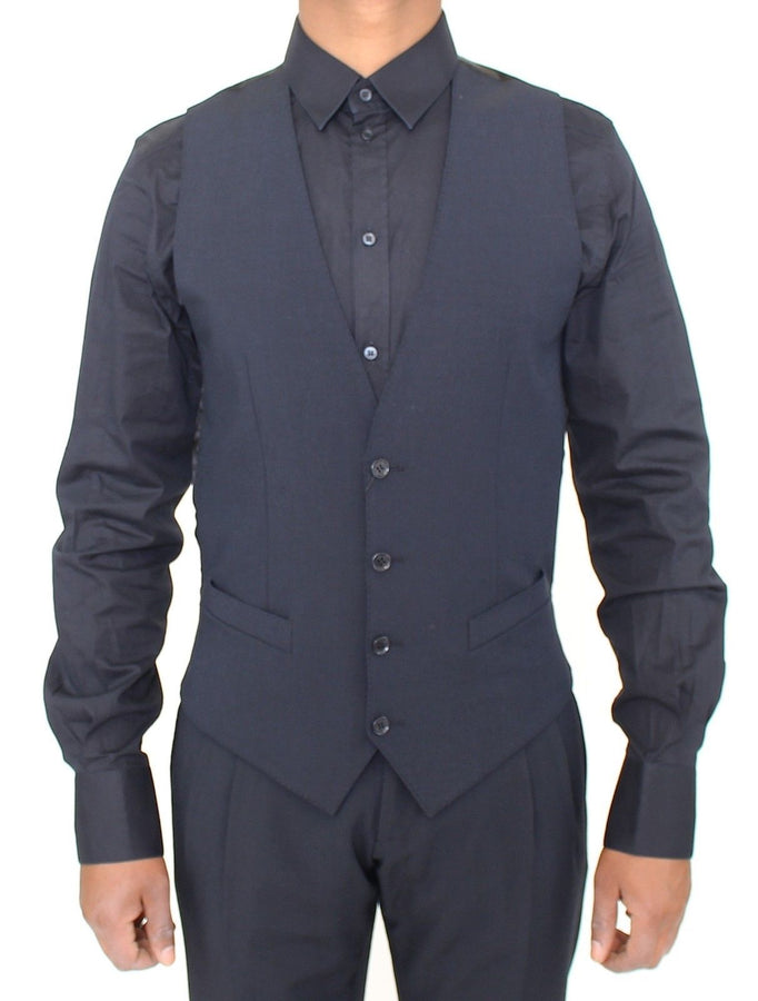 Dolce & Gabbana Blue Wool Formal Dress Vest Gilet - Men - Apparel - Suits - Vest - Dolce & Gabbana | Gethuda Fashion