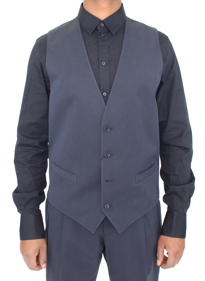 Dolce & Gabbana Blue Cotton Blend Formal Dress Vest Gilet - Men - Apparel - Suits - Vest - Dolce & Gabbana | Gethuda Fashion