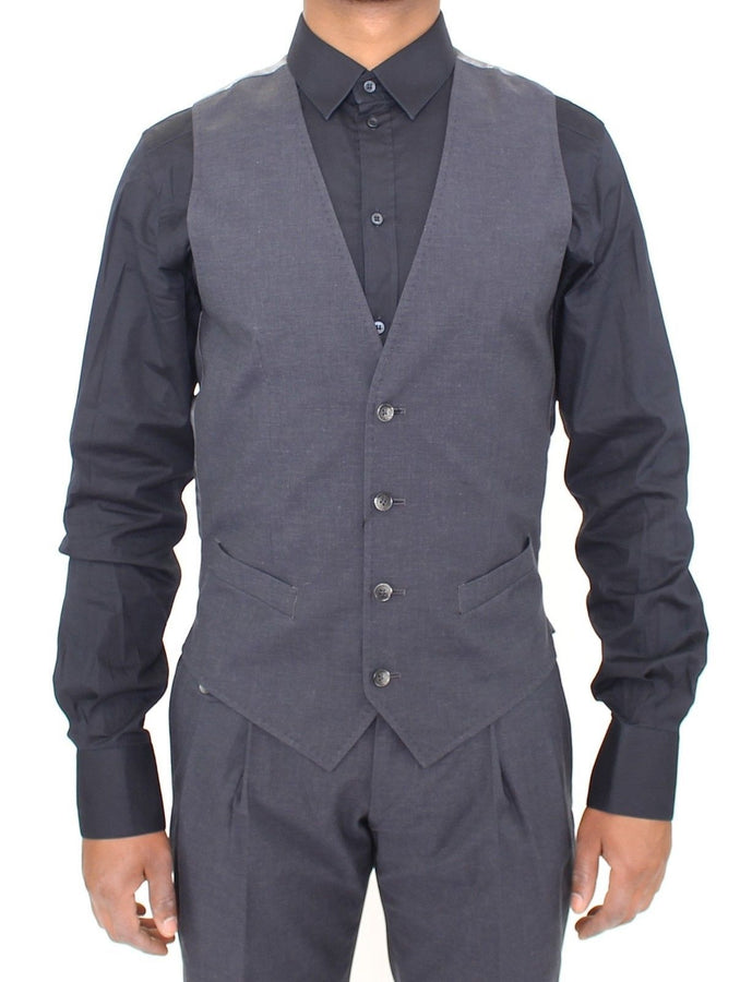 Dolce & Gabbana Gray Cotton Blend Formal Dress Vest Gilet - Men - Apparel - Suits - Vest - Dolce & Gabbana | Gethuda Fashion