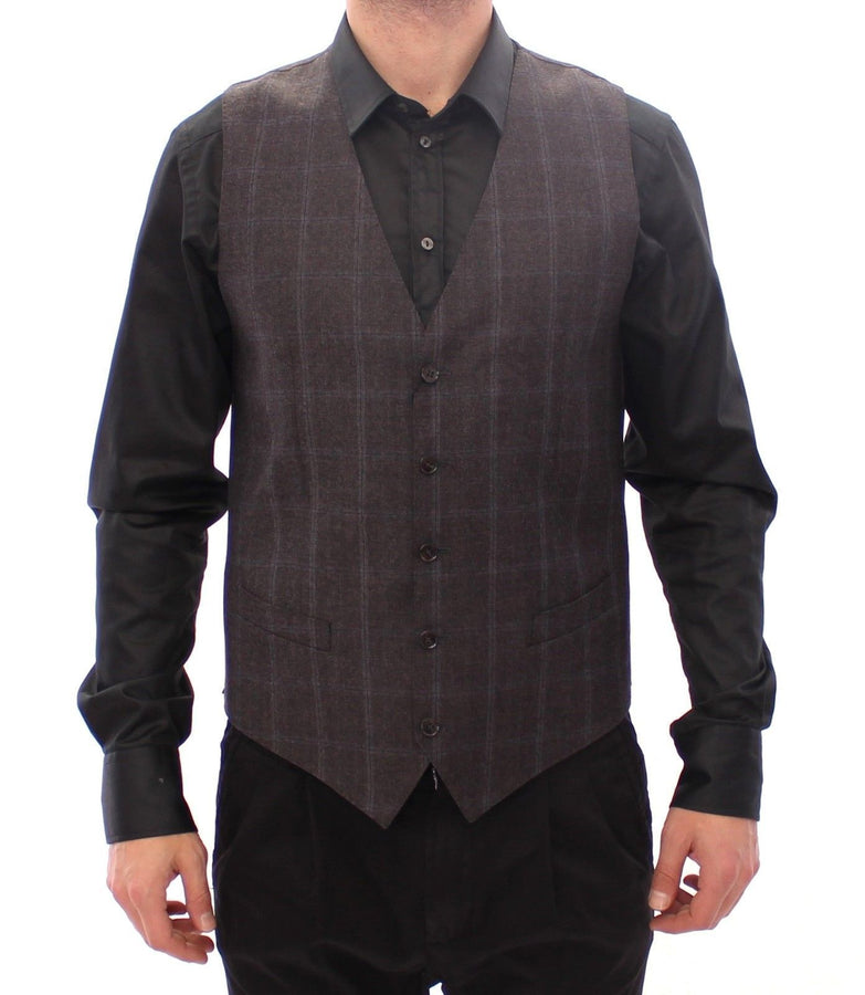 Dolce & Gabbana Brown Check Wool Single Breasted Vest - Men - Apparel - Suits - Vest - Dolce & Gabbana | Gethuda Fashion