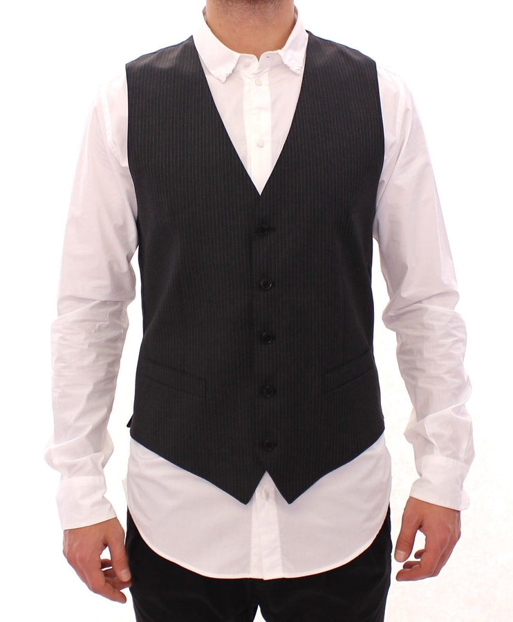 Dolce & Gabbana Gray Striped Wool Single Breasted Vest - Men - Apparel - Suits - Vest - Dolce & Gabbana | Gethuda Fashion