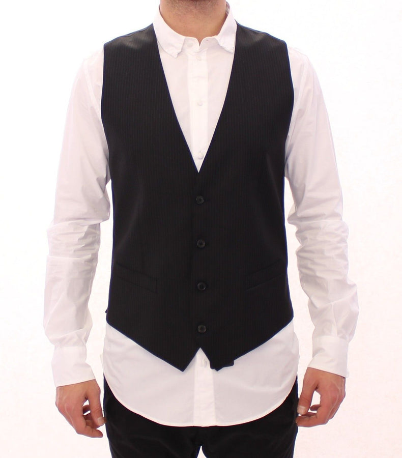 Dolce & Gabbana Black Striped Wool Single Breasted Vest - Men - Apparel - Suits - Vest - Dolce & Gabbana | Gethuda Fashion