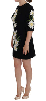 Dolce & Gabbana Black Chamomile Print Wool Stretch Dress - Women - Apparel - Dresses - Casual - Dolce & Gabbana | Gethuda Fashion