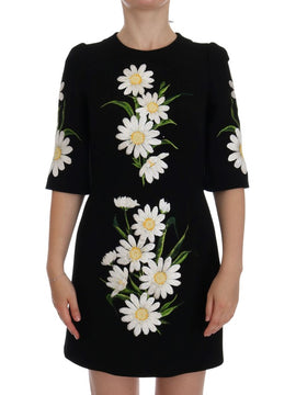 Dolce & Gabbana Black Chamomile Print Wool Stretch Dress