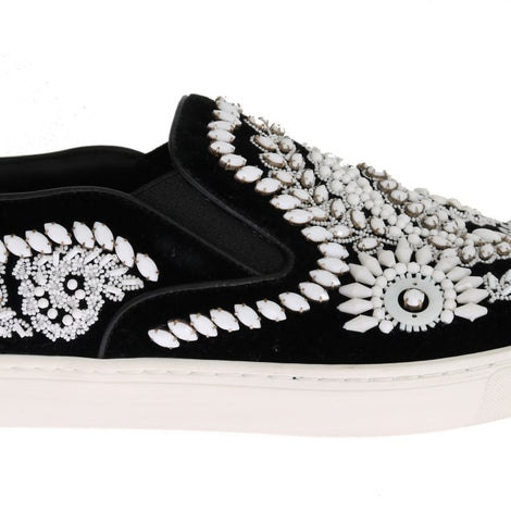 Dolce & Gabbana Black Velvet White Crystal Loafers